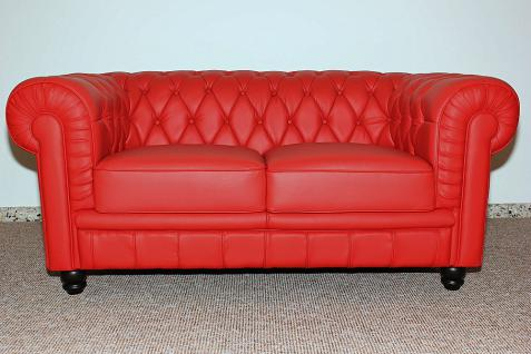 2- Sitzer Modell YS-2008 Sessel Couch Sofa Chesterfield Italy Leder rot - Vorschau 1