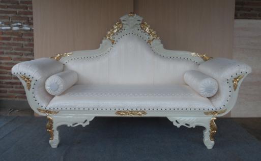 Wunderschöne Couch Recamiere Ottomane Mahagoni creme gold Bezug Textil hell - Vorschau