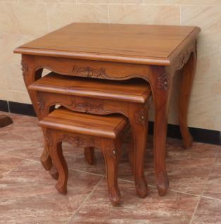 Chippendale Tisch Set Beistelltisch massiv Mahagoni hellbraun Walnuss