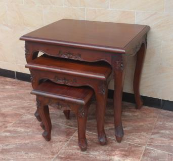 Chippendale Tisch Set Beistelltisch massiv Mahagoni braun Walnuss