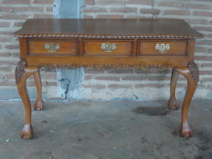 Englischer Chippendale Schreibtisch Konsole Mahagoni hellbraun walnuss - Vorschau