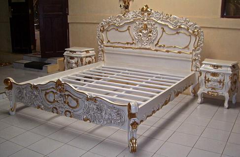 Wunderschönes Rococo Bett und Nachttische Mahagoni - Vorschau