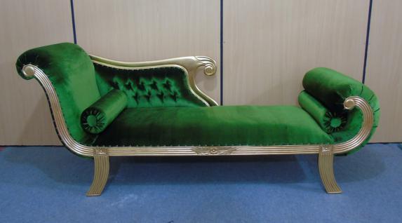Edle Couch Recamiere Ottomane im Antikdesign Mahagoni Gold / Samt grün