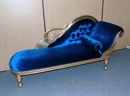 The Recamiere of Princess Ottomane Mahagoni Couch Farbe Gold, Bezug Samt blau