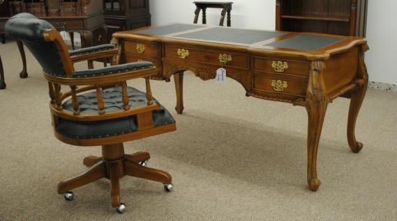 Formschöner Chippendale Schreibtisch Sekretär Mahagoni Farbe Pecan - Vorschau 2
