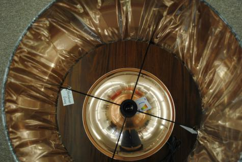 Stylishe Lampe Leuchte Tischleuchte Tischlampe Höhe 80 cm Schirm schwarz rotgold - Vorschau 3