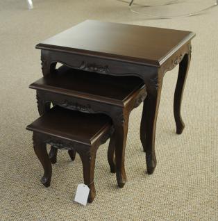 Chippendale Tisch Set Beistelltisch massiv Mahagoni dunkelbraun Walnuss - Vorschau 1