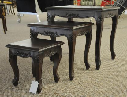 Chippendale Tisch Set Beistelltisch massiv Mahagoni dunkelbraun Walnuss - Vorschau 2