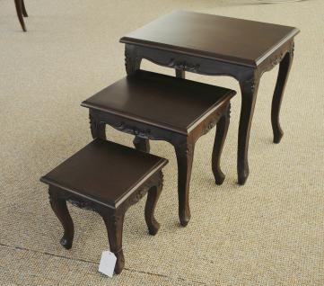 Chippendale Tisch Set Beistelltisch massiv Mahagoni dunkelbraun Walnuss - Vorschau 3