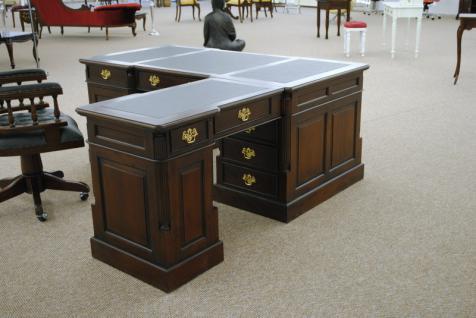 Empire Sekretär Schreibtisch Partner Desk Doppel Partner Desk Mahagoni - Vorschau 1