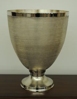 Standvase Vase Übertopf Kelch Aluminium gehämmert Farbe Silber 38cm