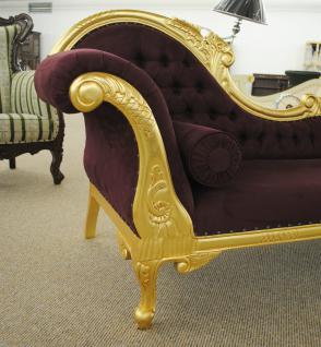 Wunderschöne Couch Recamiere Ottomane Mahagoni Gold / Bezug Real Suede Red Wine - Vorschau 2