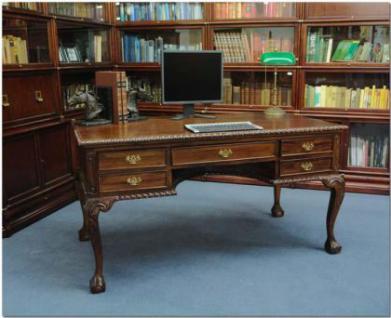 Chippendale Schreibtisch Sekretär Mahagoni Premium Qualität - Vorschau 1