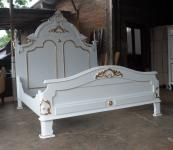 Wunderschönes Rococo Bett Mahagoni weiss gold
