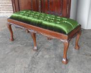 Wunderschöne Ankleide Bank Hocker Louis Stil Mahagoni Samt grün