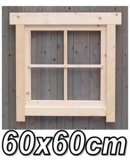 Gartenhaus fenster, Gartenhausfenster, Carportfenster 60 x 60 cm feststehend mit Abdeckrahmen 4 Felder - Vorschau 1