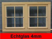 Gartenhaus Doppelfenster 111x68cm 4 Sprossenfelder zum Öffnen Dreh-, Kippbeschlag Glas