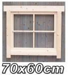 Gartenhaus fenster, Gartenhausfenster, Carportfenster 70 x 60 cm feststehend mit Abdeckrahmen 4 Felder