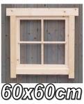Gartenhaus fenster, Gartenhausfenster, Carportfenster 60 x 60 cm feststehend mit Abdeckrahmen 4 Felder