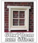 Gartenhaus Fenster, Gartenhausfenster, Carportfenster 60 x 70 cm zum Öffnen mit Abdeckrahmen