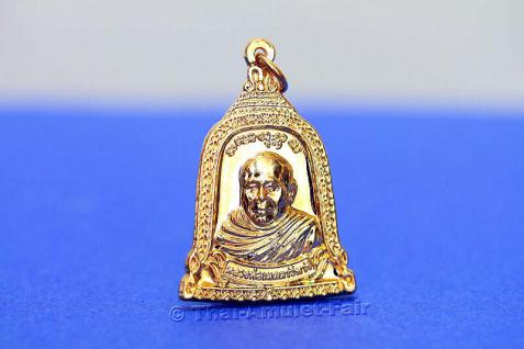 Luang Pho Mettavihari Thai Amulett - Rian Rakhang Nuea Thong Lueang Ruun Kroop Roop 60 Pii des ehrwürdigen Luang Pho Thiraphan Mettavihari (Phra Khru Kraisorn Virat), Wat Phutta Viharn (auch Wat Buddhavihara), Amsterdam, Niederlande, vom 16.07.2002. - Vorschau 2