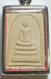 Buddha Thai Amulett Luang Pho Wachara Phra Somdej Lang Keenaree Nuea Pong Wahn Pasom Pong Leklai des ehrwürdigen Luang Pho Watchara Aekkawano, Abt des Wat Thamfad, Tambon Kao Noi, Amphoer Thamuang, Changwat Kanchanaburi, Thailand, aus dem Jahr B.E. 2543