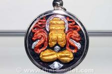Thai Amulet von 12 Mönchen geweihtes, Phra Pidta Pang Prakarn Ruun Baramee Srivichai Schutz Thai Amulett aus dem Wat Srivichai Patthanaram, Ban Wang Luang, Amphoe Phrom Khiri, Changwat Nakhon Si Thammarat, Thailand vom 19.02.2550 (2007).