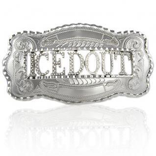 Personalisierter ICED WESTERN Silber Namebelt - Vorschau