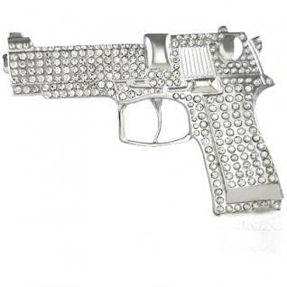 Iced Out Bling Gürtel - Pistole 9mm silber