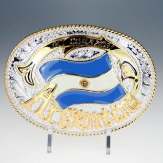Iced Out Bling Gürtel - ARGENTINA FLAG gold / silb