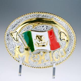 Iced Out Bling Gürtel - MEXICO FLAG gold / silber