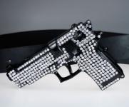 Iced Out Bling Gürtel - Pistole 9mm black