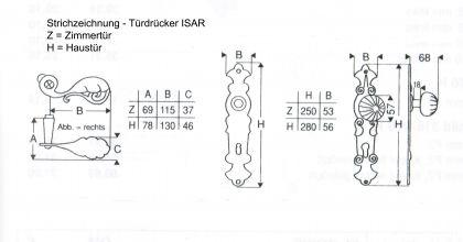 Schmiedeeisen Türdrücker Türgriff ISAR - Vorschau 2