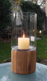 Kaheku Windlicht DARIO / Holzsockel Eiche / Höhe 30 cm / Glas + Holz - Vorschau 3