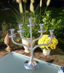 Kerzenleuchter BRINDISI - Alu poliert Höhe 47 cm Kerzenständer Metall 5 flammig