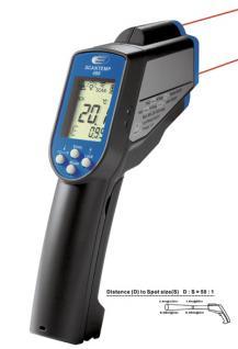 Infrarot-Thermometer mit Laser und Fühlereingang