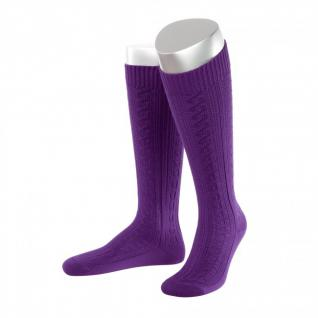 Lange Damen Trachtensocken Trachtenstrümpfe Zopf Socken violett