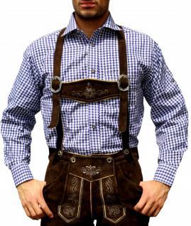 Trachtenhemd für Trachtenlederhosen Oktoberfest Trachtenmode Blau/karo 100% Baumwolle