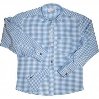 Trachtenhemd mit Edelweiß-Stickerei Himmelblau/karo 100% Baumwolle