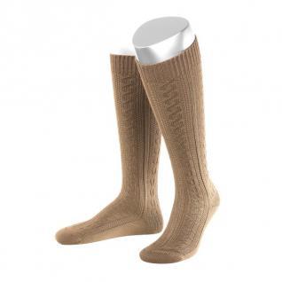 Lange Damen Trachtensocken Trachtenstrümpfe Zopf Socken Hellbraun
