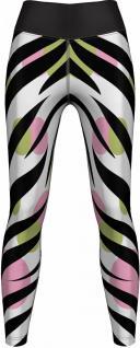 Zebra Leggings sehr dehnbar für Sport, Gymnastik, Training, Tanzen & Freizeit schwarz/weiß/grün/rosa