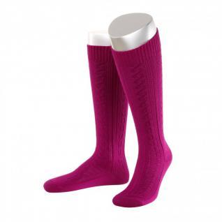 Lange Damen Trachtensocken Trachtenstrümpfe Zopf Socken Pink