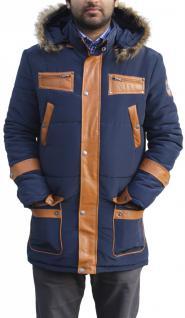 Herren Winterjacke jacke mit aufgenähten Lederstreifen webpelz marin-blau