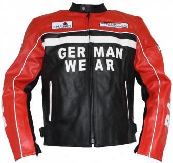 Motorrad Lederjacke Motorradjacke Rindsleder Jacke Schwarz/Rot