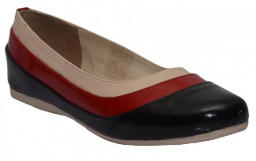 Ballerinas Lederschuhe aus echtem Glattleder in schwarz/rot/creme