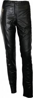 Damen Lederhose aus Lammnappa Leder Leggings mit spandex echtleder Hose schwarz