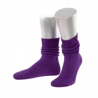 Damen Trachtensocken Trachtenstrümpfe Zopf Socken violett