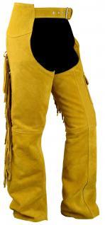 Chaps Fransenhose Reiter Cowboy Indianer Western Lederchaps Lederhose Ocker