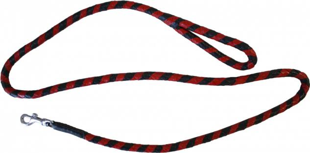 Hundeleine aus echtem Leder 140cm in schwarz/rot