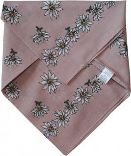 Halstuch Trachtentuch BAUMWOLLE mit Edelweissmuster nikituch 50x50cm rosa